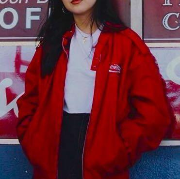 16374fa67 Red coca cola windbreaker bomber jacket, Women's Fashion, Clothes ...