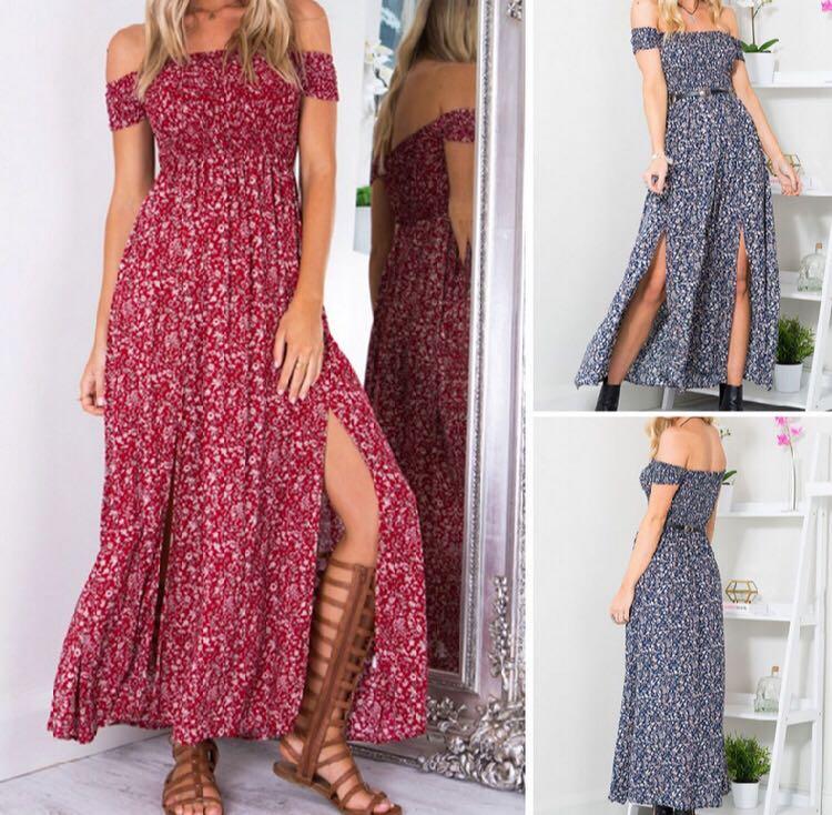 1e60aa0504d6 red Off Shoulder floral maxi Dress