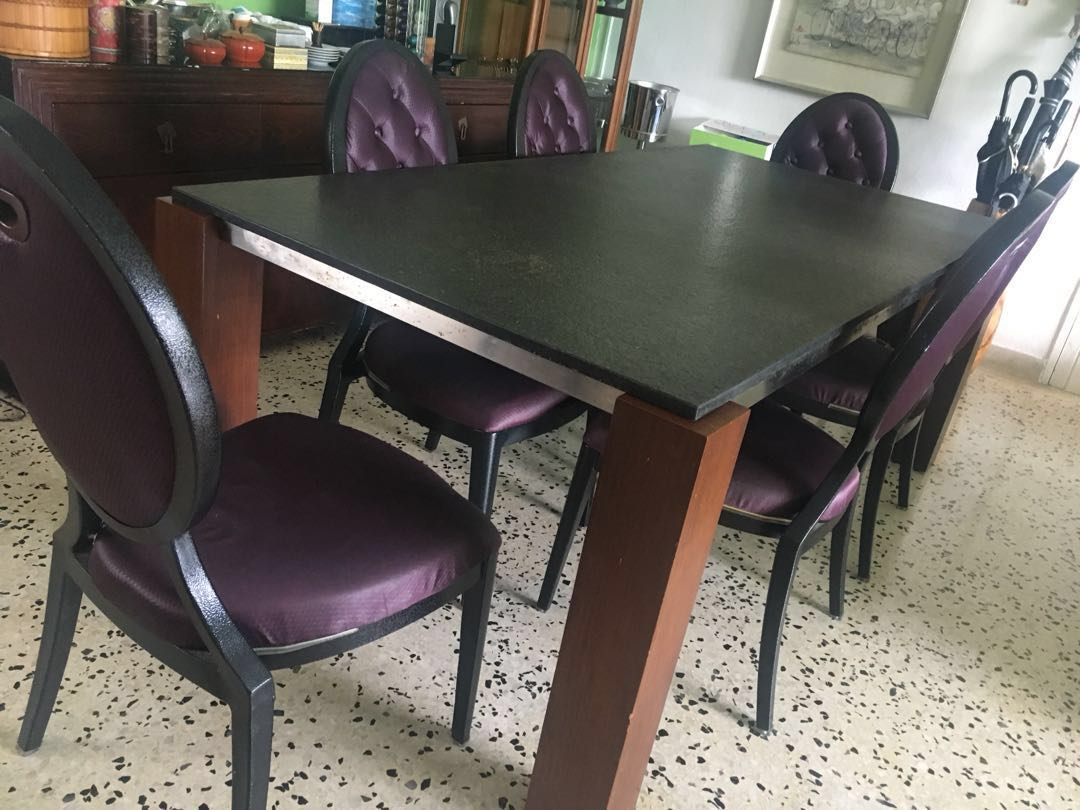 Walnut \u0026 Granite Dining Table FREE Chairs Furniture Tables \u0026 Chairs on Carousell & REDUCED! Walnut \u0026 Granite Dining Table FREE Chairs Furniture ...