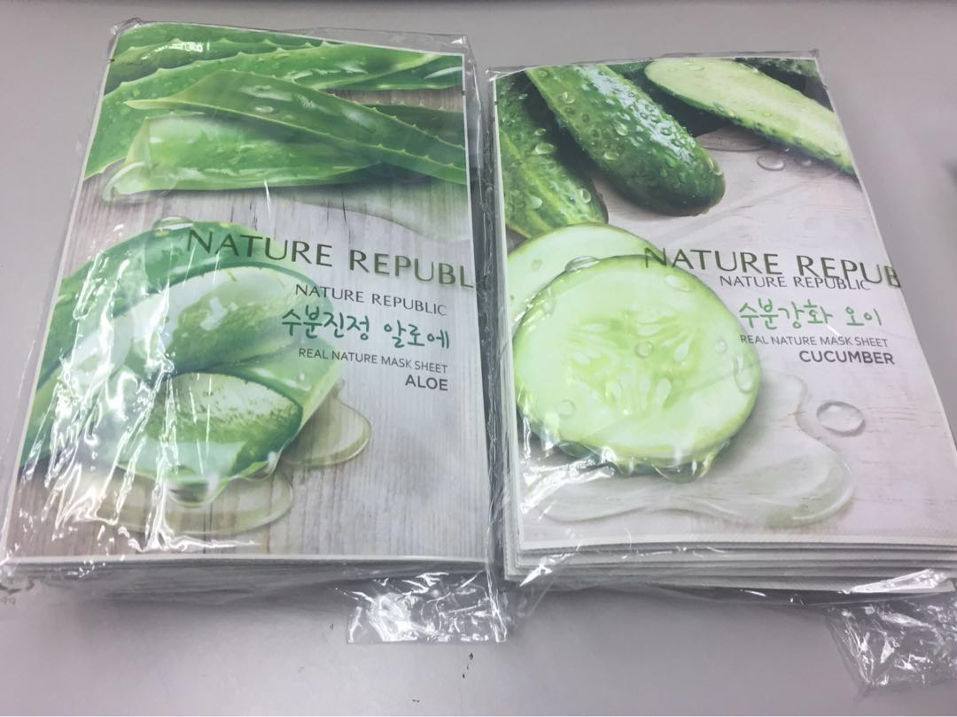 🔥SG Ready Stock🔥 Nature Republic Cucumber & Aloe Vera Facial Mask, Health & Beauty, Face & Skin Care on Carousell