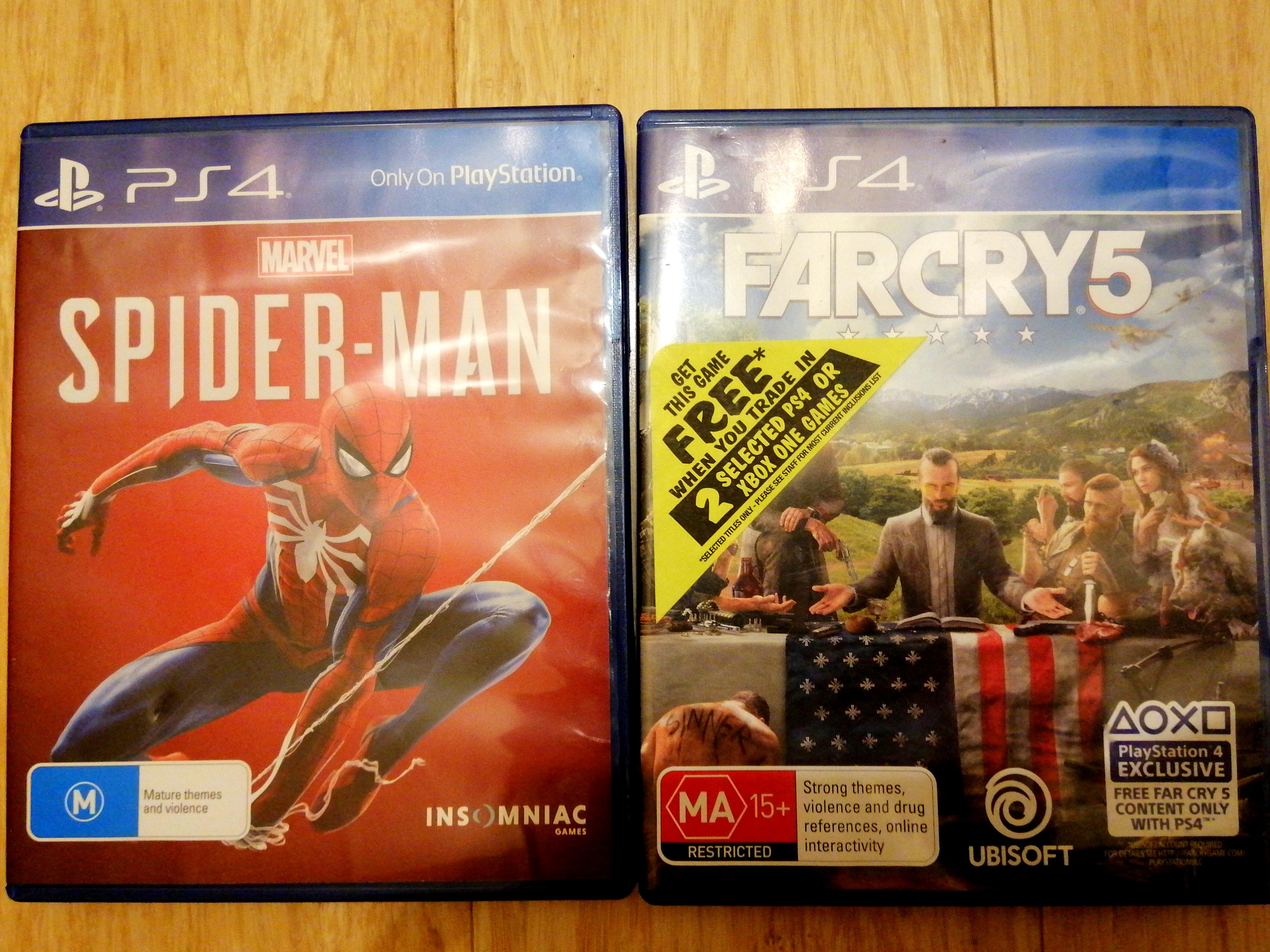 Spiderman PS4 and Farcry 5