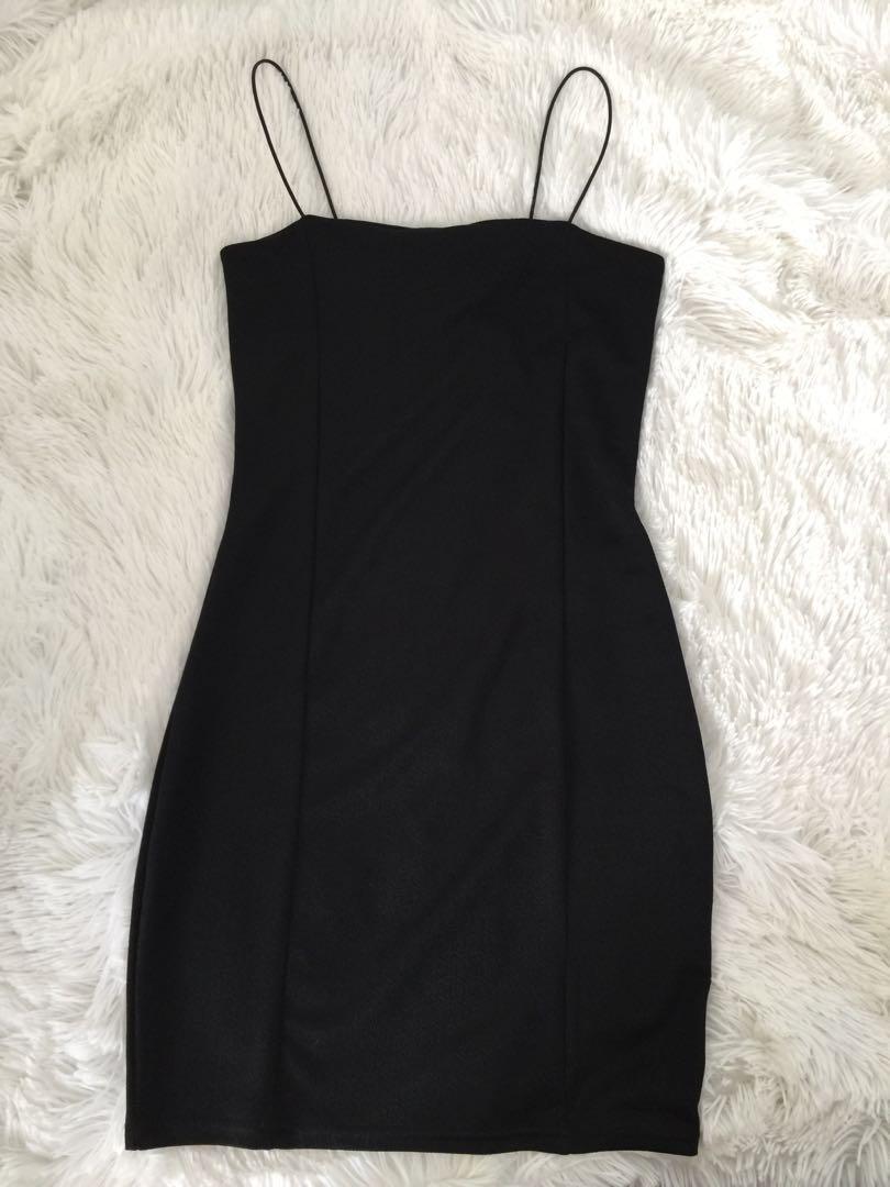 Strappy black bodycon dress