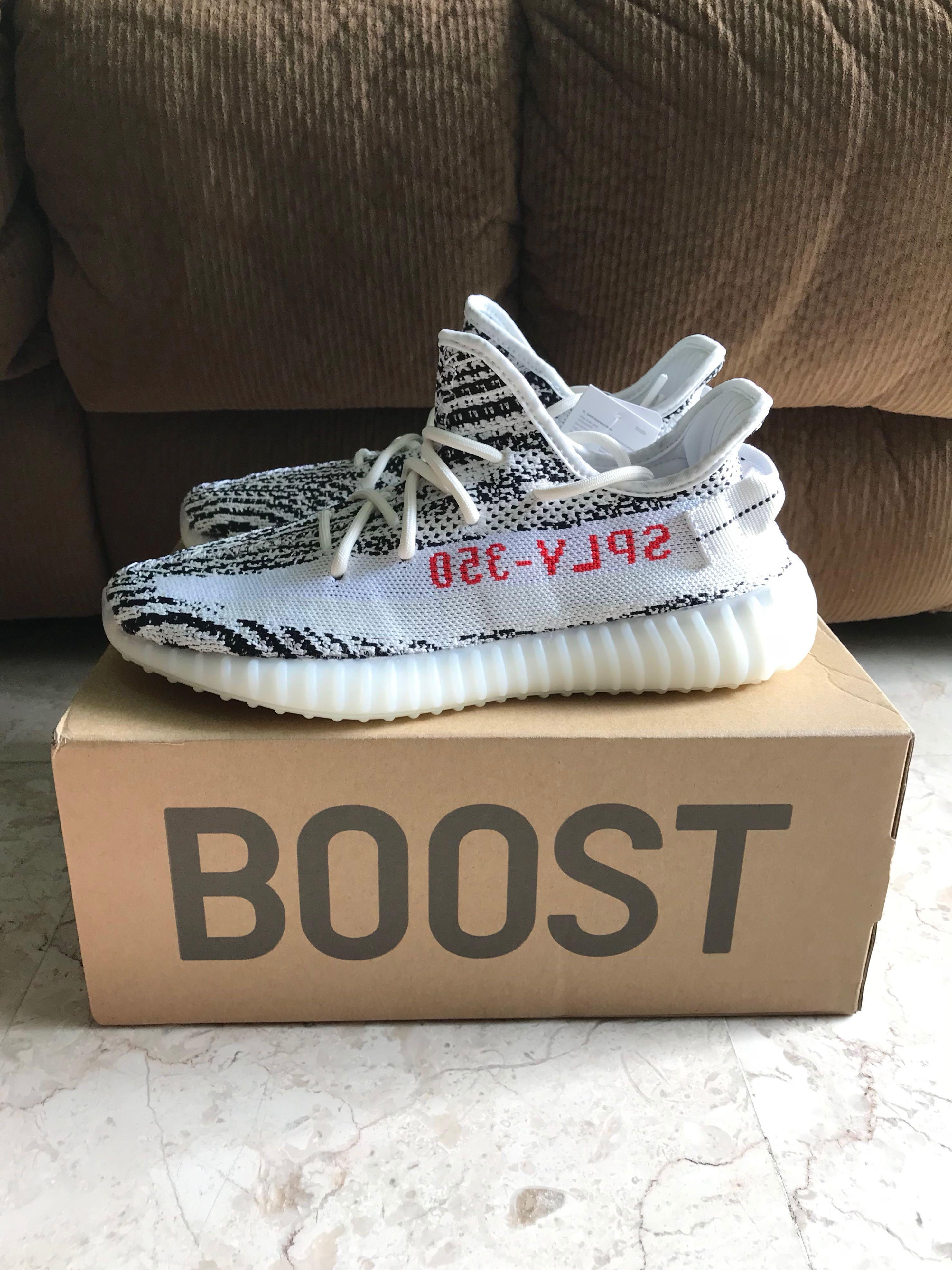 US 8.5 Adidas Yeezy Boost 350 V2 Zebra, Men's Fashion