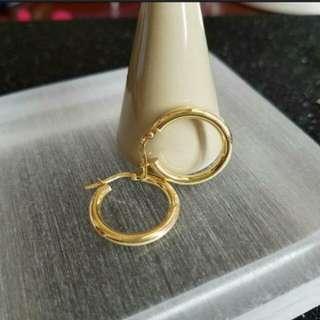 18K750 Yellow Gold 19mm Loop Earrings             💕 NEW & Genuine 💕                          18K750黄金耳圈耳環 19mm