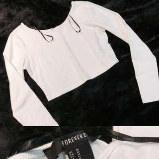 F21 White Long Sleeve Cropped Top