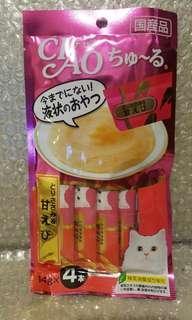 14.4 雞胸肉 x 甜蝦 Ciao Churu 貓貓小食糊仔 零食 4條裝 14g x 4本入 日本製品