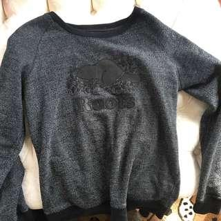 Roots black leather with salt and pepper print crew neck