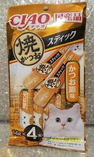 15.4 鰹魚乾粉末 Ciao Churu 貓貓條條小食 零食 4條裝 14g x 4本入 日本製品
