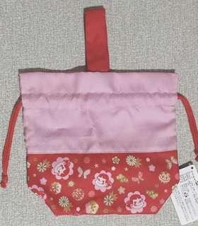 🚚 日本不二家peko牛奶妹和風布束口手提包、小包
