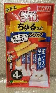 18.4 金槍魚x扇貝柱 Ciao Churu 貓貓小食糊仔 零食 4條裝 4本入 日本製品