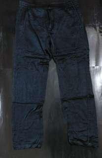 Zara男裝 黑色綠邊7分吊腳褲