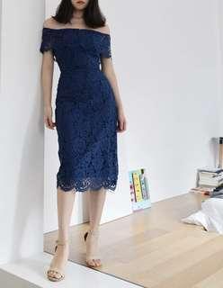 Navy Blue Off Shoulder Lace Dress