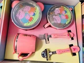全新1盒5件套小豬佩佩不銹鋼餐具禮盒