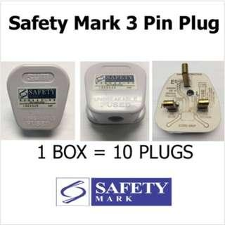 3 pin plug with safety mark (10 in a box)
