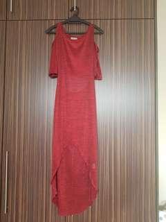 Cold shoulder red sheer dress