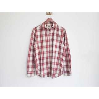 約M號 Roots 加拿大休閒時裝 男 復古格紋棉質長袖襯衫 二手