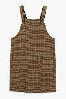 Monki houndstooth pinafore dress