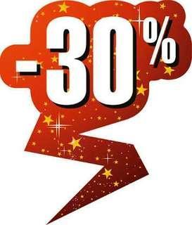 Discount 30% untuk setiap pembelanjaan 100rb .
