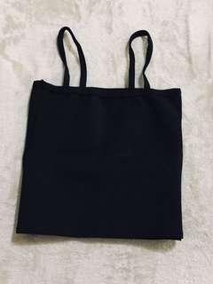 Black fitted straight neck semi-crop top