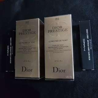 Christian Dior Prestige Le Nectar De Tan #012 Porcelain Liquid Foundation SPF 20 - PA ++ with free Mac liquid lipstick