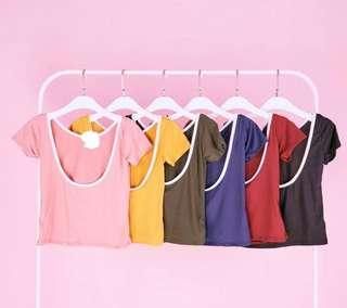 TWO COLORED SCOOPBACK TOP