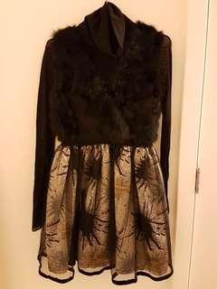 Glittery Black Dress with Rabbbit Fur A-line Dress