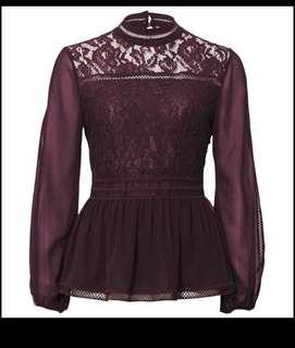 ♦️Red wine maroon embroidered sheer high neck peplum top