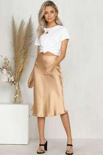 Silk midi skirt - champagne