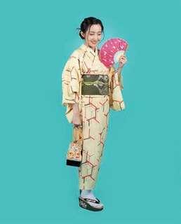 Honeycomb komon kimono rental