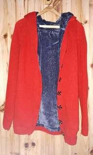 Red Warm Thick Knit Cardigan with Faux Fur Lining