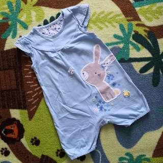 Mothercare Blue Bunny Romper (6-9M)