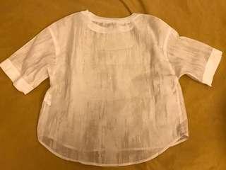 Initial復古文青百搭白色紋上衣衫 連身裙 衛衣 裙 外套 褲 褸 帽