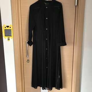 Initial復古文青百搭黑色長身恤衫連身裙 可當外套