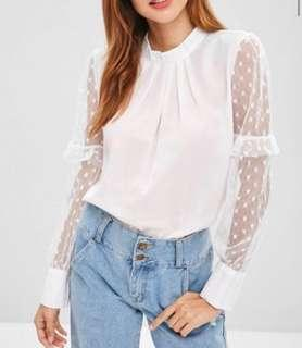 Dotted Tulle Sleeve Top - White XL