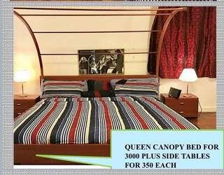 Canopy bed with side tables