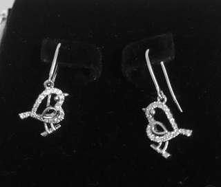 Mabelle 18k 750 白金 13份 心心 雛鳥 小鳥 耳環 diamond earrings