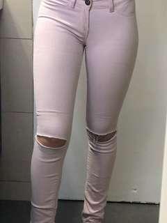 Baby pink slit jeans