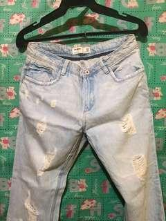 ⁉️SALE⁉️ Zara Mom Tattered Jeans Acid Wash W28 L42