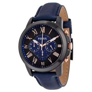 🚚 [YEAR END Special SALE] Fossil Grant Analog Men's Blue Leather Strap Watch FS5061