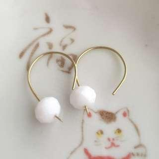White chalky glass bead on brass ear hooks