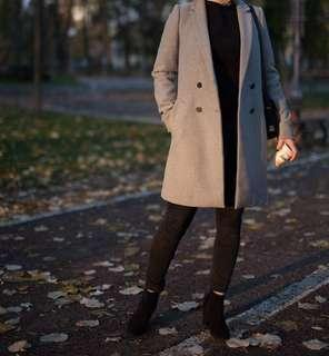 ZARA WOOL LIGHT GREY COAT