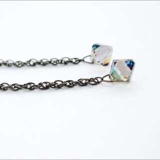 Swarovski Crystal Dangle on Gunmetal chain earrings