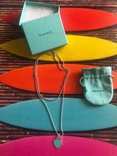 Tiffany & Co Teal Enamel return to Tiffany heart tag Long Bead Necklace
