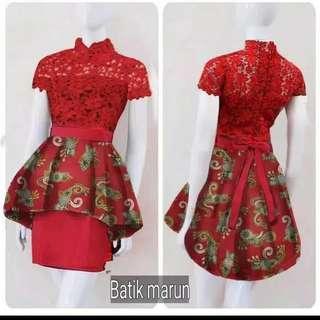 Stelan kebaya brukat Rok Batik