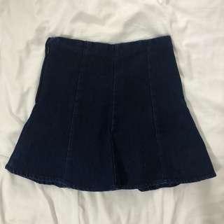 Blue denim material skirt (w shorts inside)
