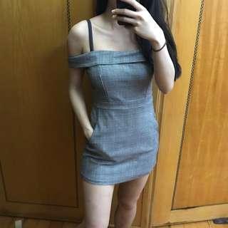 Off shoulder checks jumpsuit dress