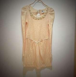 粉色珠珠修身連身裙