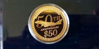 1997 Singapore Airlines 50th $50 1 Oz Gold Proof Coin - RARE