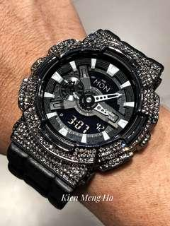 🚚 RESERVED !!!! 🌚🌚🌚💯% authentic and original G-Shock GA110 in metal bezel with crystals , gshock , GI