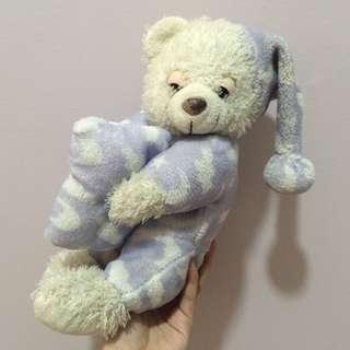 BLUE SLEEPY BEAR IN PAJAMAS STUFFED TOY